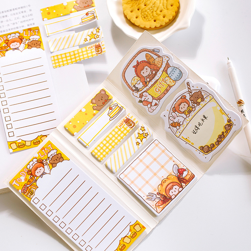 Cute Korean Little Fruit Girl Kawaii Memo Pad Sticky Notes Office Decor To Do List Planner Paper Stickers Stationery Gift