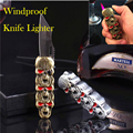 Unusual Creative Skull-shaped Gas Lighter with Knife Multi-function Windproof Cigar Lighters Smoking Portable Outdoor Survival