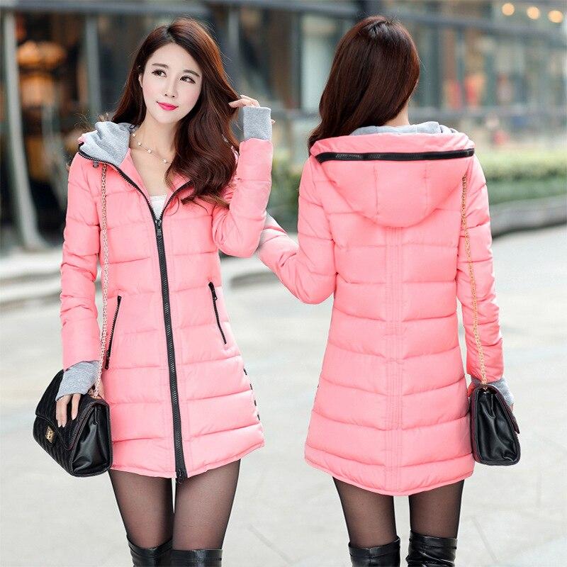 2019 Women Winter Hooded Jacket Coat Plus Size Candy Color Cotton Padded Jacket Female Long Parka Womens Wadded Jaqueta Feminina