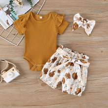 2020 New Girls Baby Clothing Set Cotton Summer Floral Printing Fashion Baby Rompers Bow Shorts Headband Outfits Three-piece Suit