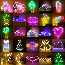 Led Neon Light Colorful Rainbow Art Sign Hanging Night Lamp For Home Party Wedding Bedroom Decoration Xmas Gift Neon Lamp