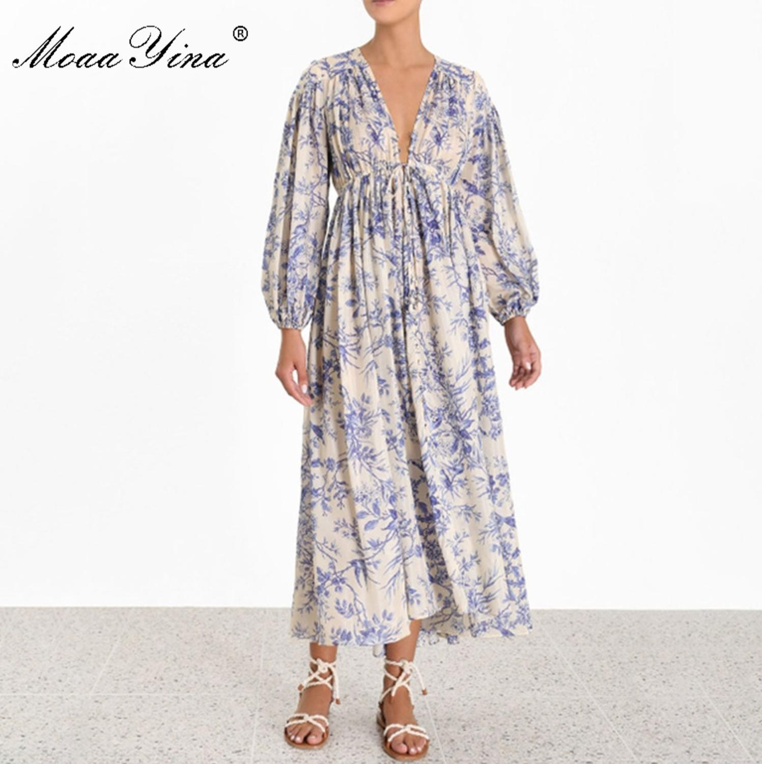 Image 3 - MoaaYina Fashion Designer Runway dress Spring Autumn Womens 