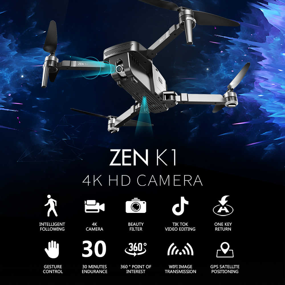 VISUO ZEN K1 5G WIFI RC Drone 4K GPS Borstelloze Dual Camera Groothoek Beauty Filter 50X Zoom 30 minuten Figuur Volgen RC Quadcopter