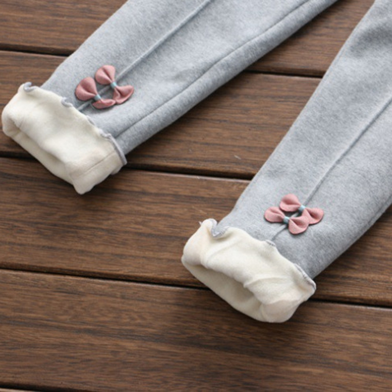 New Girls Warm Pants Winter Children Thicken Outwear Pants Cotton Bow Kids Fleece Trousers Baby Casual Trousers2 8year in Pants from Mother Kids