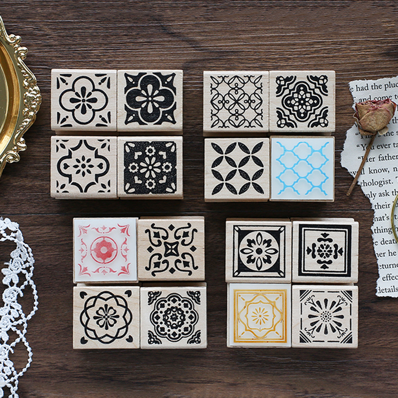 Dreamback Morocco Series Decoration Stamp Retro Pattern Wooden Rubber Stamps For Scrapbooking Stationery DIY Craft Standard