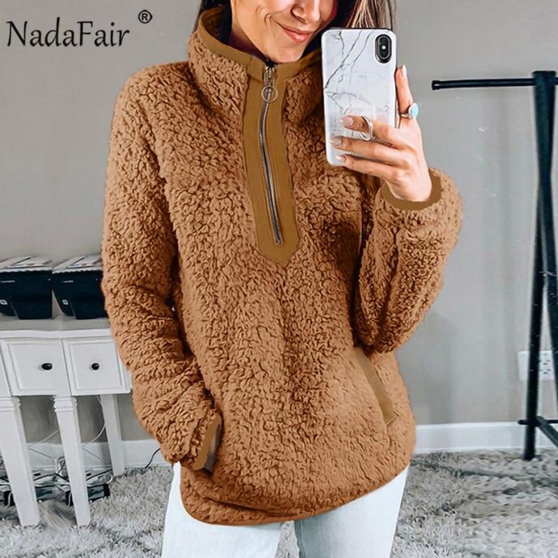 Nadafair Casual Fleece Oversized Hoodie Fluffy Sweatshirt Women Zip Up Faux Fur Winter Long Sleeve Pullover Hoodie Overcoat