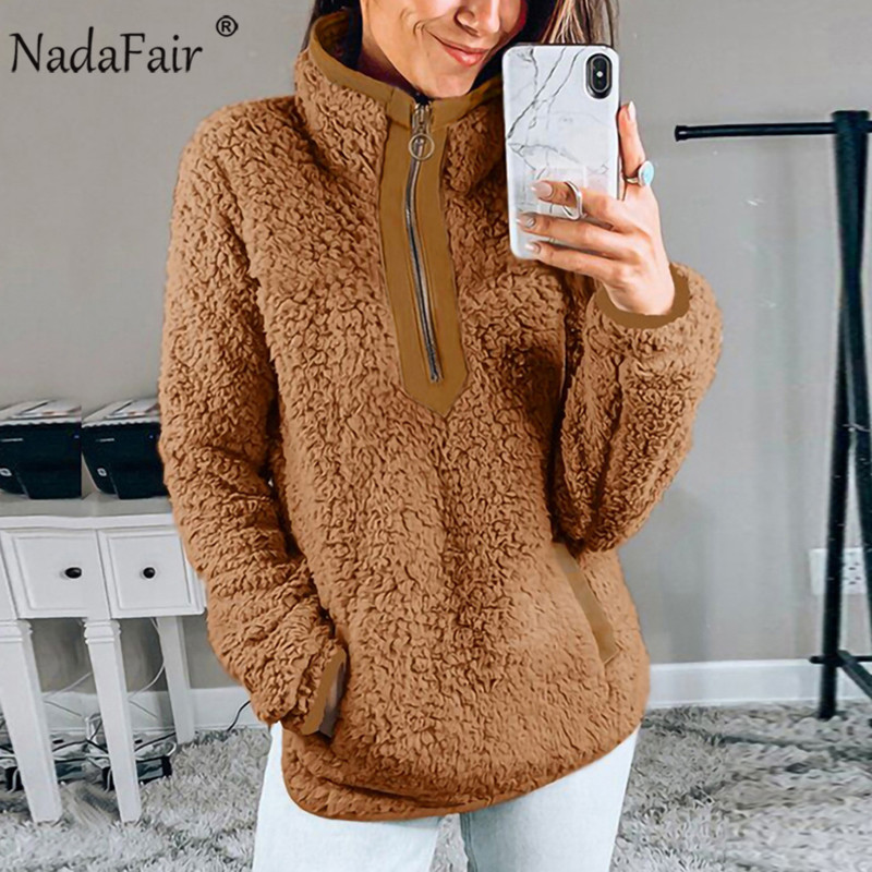 Nadafair Casual Oversized Fluffy Hoodie Women Christmas Zip Up Faux Fur Winter Fleece Sweatshirt Hoody Ladies Pullover