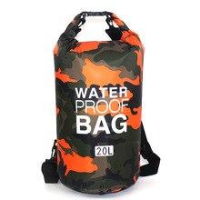 屋外バッグ迷彩ポータブルラフティングダイビングドライバッグサックpvc防水フォールディングスイミングプール収納袋川のトレッキング