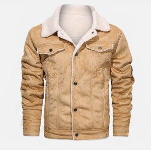 Image 4 - Куртка мужская с отложным воротником, осенне зимняя повседневная модная свободная кожаная куртка, 2020