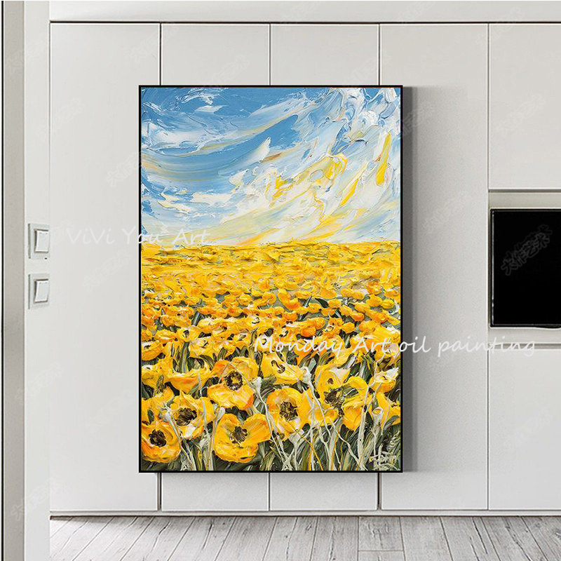 100-Hand-Painted-Abstract-Sunflower-Art-Painting-On-Canvas-Wall-Art-Wall-Adornment-Pictures-Painting-For