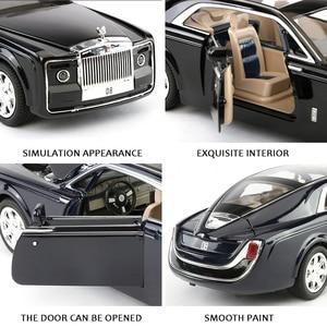 Image 5 - 2020 1/24 Diecast Toy Vehicl Rolls Royce Phantom Car Model Wheels Alloy Sound Light Pull Back Car Kid Toy Car Christmas Gift