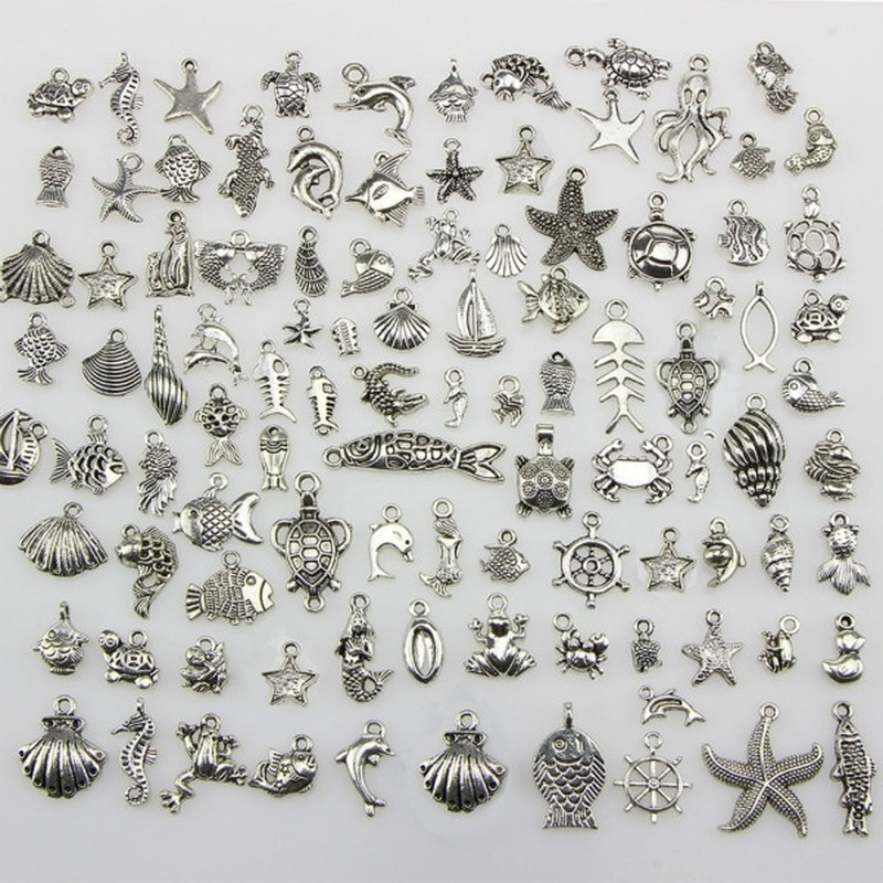 50pcs Tibetan Silver Mixed Seahorse Shell Starfish Turtle Ocean Theme Biological Charms Pendant DIY Beads Jewelry Accessories(China)