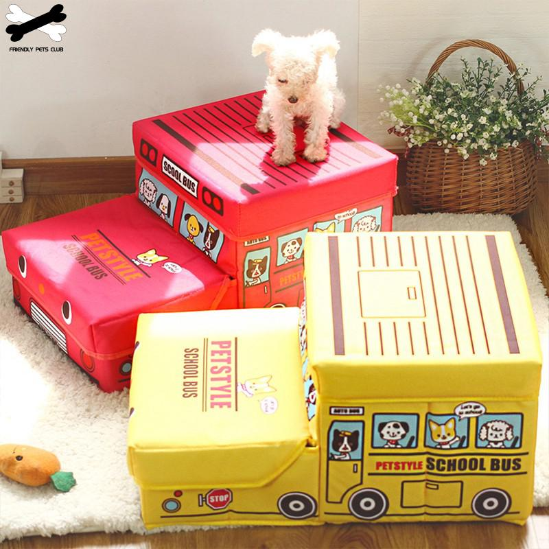Foldable Dog Stairs 2 Steps Pet Ramp Ladder For Small Dogs Car Style Storage Box Climbing Bed Detachable Pet Supplies