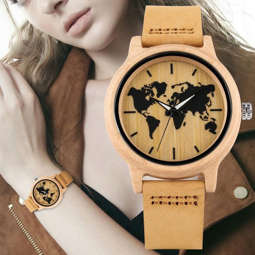 Women's Wooden Watch Leather Strap Wooden Watches Maple World Map Pattern Dial Wristwatch For Ladies Luminous Function