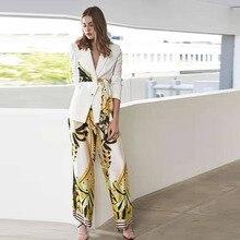 איכות גבוהה חדש 2020 מסלול מעצב חליפת סט נשים של לשרוך חגורת בלייזר פרחוני מכנסיים חליפה