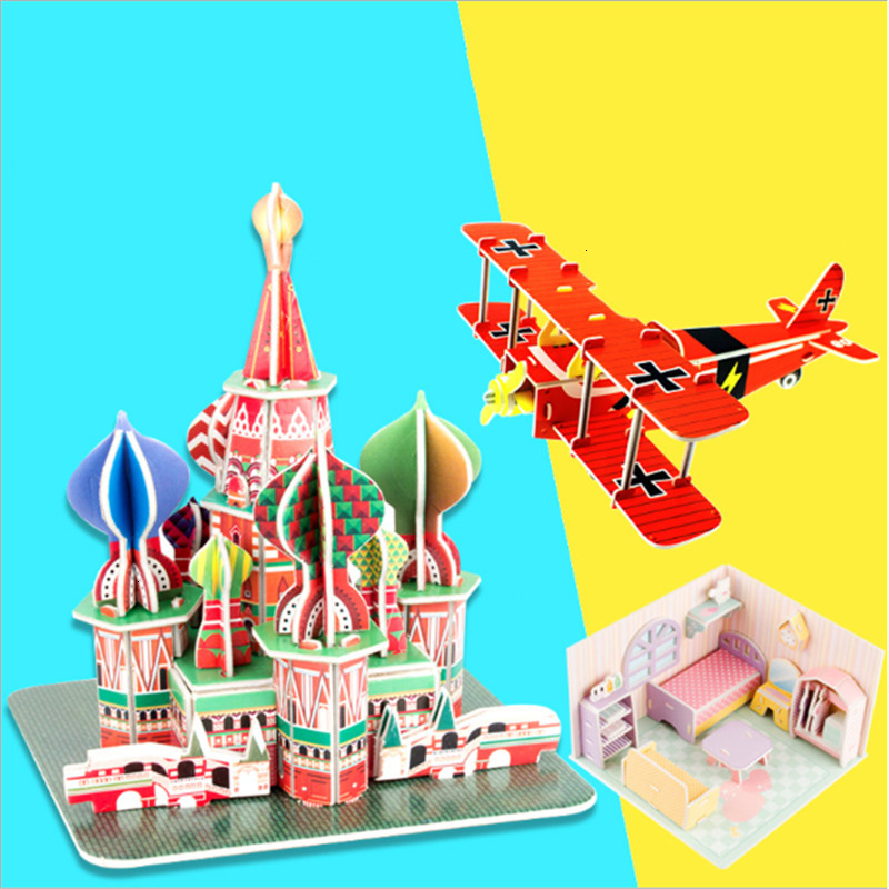 DIY 3D Paper Build Puzzle Jigsaw Building Model Educational Toys For Children Castle House Animal Construction Model Kids Toys