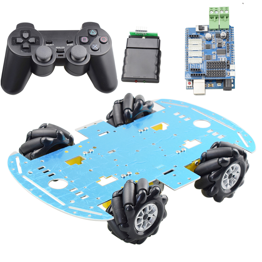 Cheapest Mecanum Wheel Omni-directional Robot Car Chassis Kit With 4pcs TT Motor For Arduino Raspberry Pi DIY Toy Parts
