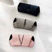 SO&EI Simple Retro Portable Matte Leather Women Glasses Case Comfortable Feel Solid Color Men Travel Sunglasses Storage Bag Box
