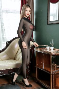 Sexy Women Sheer Mesh Bodysuit Backless Turtleneck with Buckle Transparent Bodystocking High Elastic Lingerie Nightwear - discount item  15% OFF Exotic Apparel
