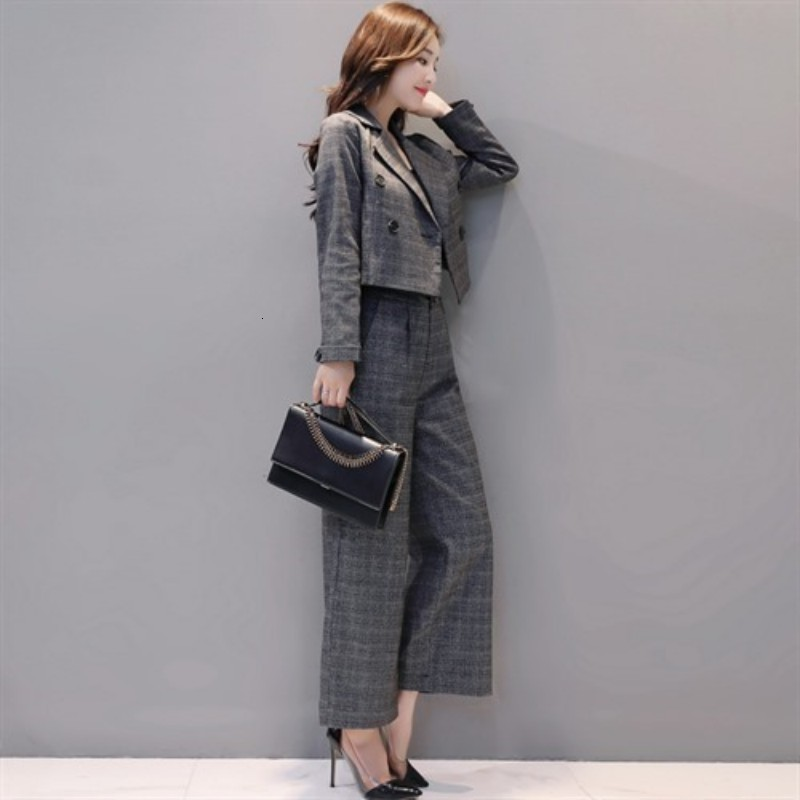 Office Ladies Vintage Elegant Womens Plaid Two Pieces Suits Double Breasted Short Blazer High Waist Ankle Length Wide Leg Pants