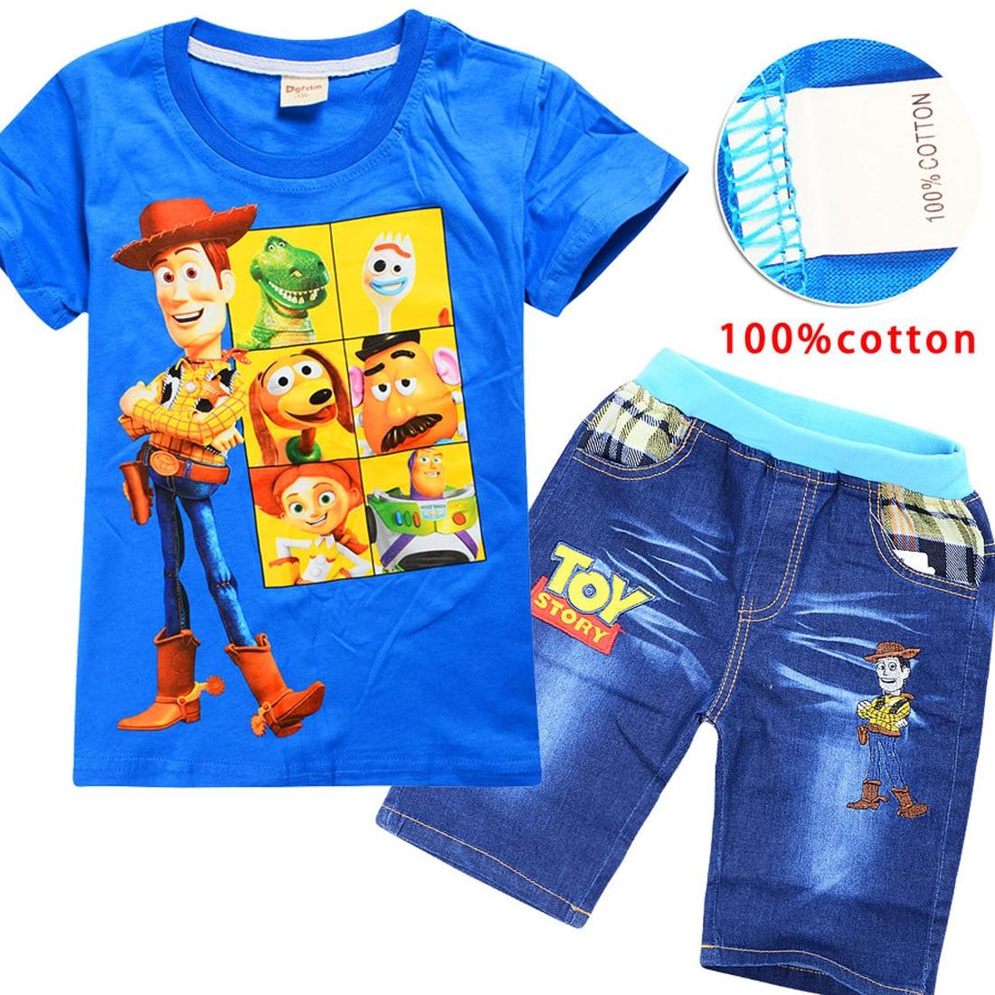 Kids Summer Boys Clothes Sport Suit Set 2019 Christmas Toy Story 4, Short Sleeve Children's Clothing Set 2 Pieces T-Shirt+Pants