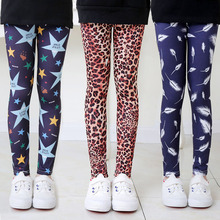 VEENIBEAR Summer Girls pants Leopard Print Girls Leggings Skinny Pencil Pants Kids Children Trousers cheap Polyester Modal Spandex CN(Origin) Flowers Washed panelled Spliced Ankle-length Fits true to size take your normal size