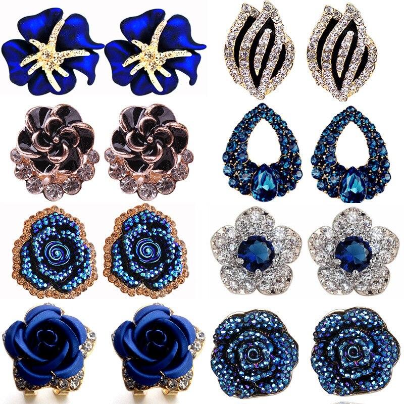 Versione coreana del 2021 nuovi orecchini di personalità della moda blu incantatrice rosa piena di orecchini di cristallo orecchini da donna