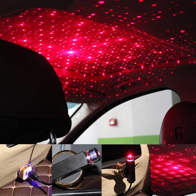 2pcs LED רכב גג כוכב לילה אור מקרן אווירה Galaxy מנורת USB דקורטיבי מנורת מתכוונן מרובה אפקטים של תאורה