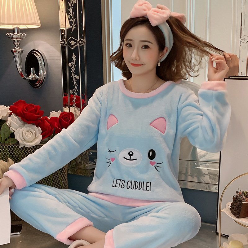 Betyline 2019 New Winter Pajamas For Women Sleepwear Warm Flannel Long Sleeves Pajamas Cute Animal Homewear Thick Homewear 174