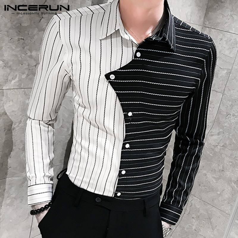 INCERUN Fashion Men Dress Shirt Personality Striped Patchwork Street Long Sleeve Lapel Fitness Brand Shirts Party Clubwear Tops