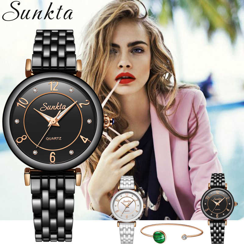 SUNKTA Womens Watch Top Brand Luxury Casual Fashion Watch Women Dress Sports Clock Quartz Waterproof Wristwatch Ladies Watch+Box