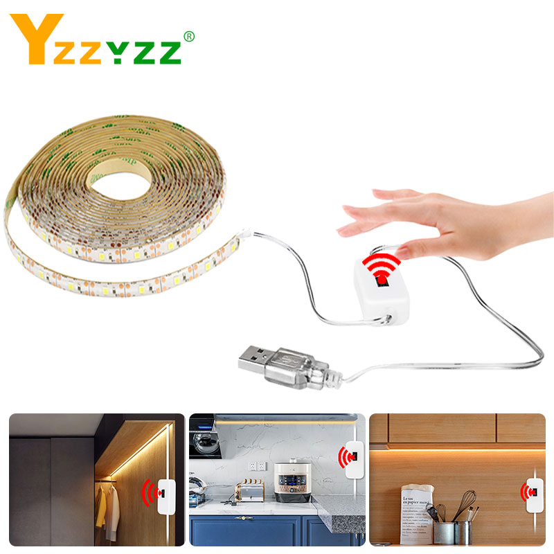 5V USB Hand Sweep Sensor LED Strip Light Flexible Diode Tape Hand  Wave Motion Smart Switch Led Strips For Bedroom Living Closet