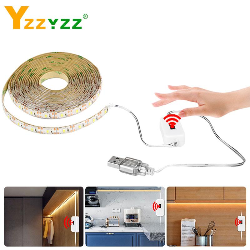 5V USB Hand Sweep Sensor LED Strip Light Flexible Diode Tape Hand  Wave Motion Smart Switch Led Strips For Bedroom Living Closet