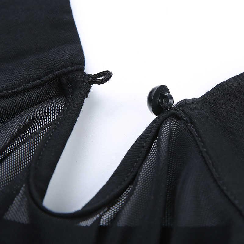 Rockmore Xem Qua Áo Thun Fishnet Crop Top Nữ Bodycon Trong Suốt Cổ Bẻ Áo Sơ Mi Nữ Tay Ngắn Cơ Bản Thun Nữ