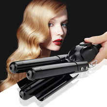 Hair Curling Iron 3 Barrel Hair Curler Waver with LCD Temp Display Fast Heating Triple Barrel Hair Curling Iron Tourmaline(China)