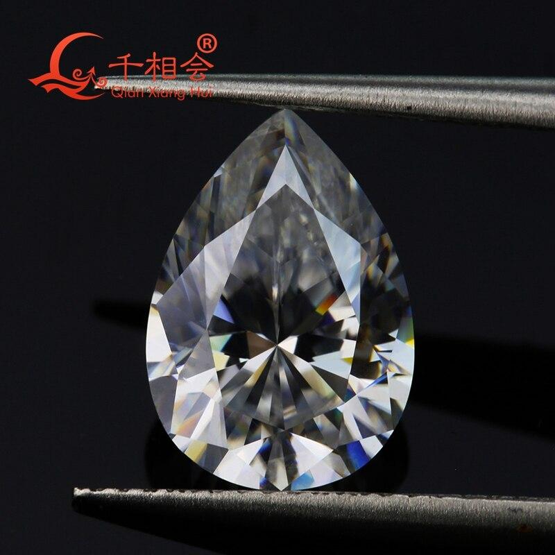 DF FH  IJ color white pear shape diamond cut Sic material moissanites loose gem stone qianxianghui