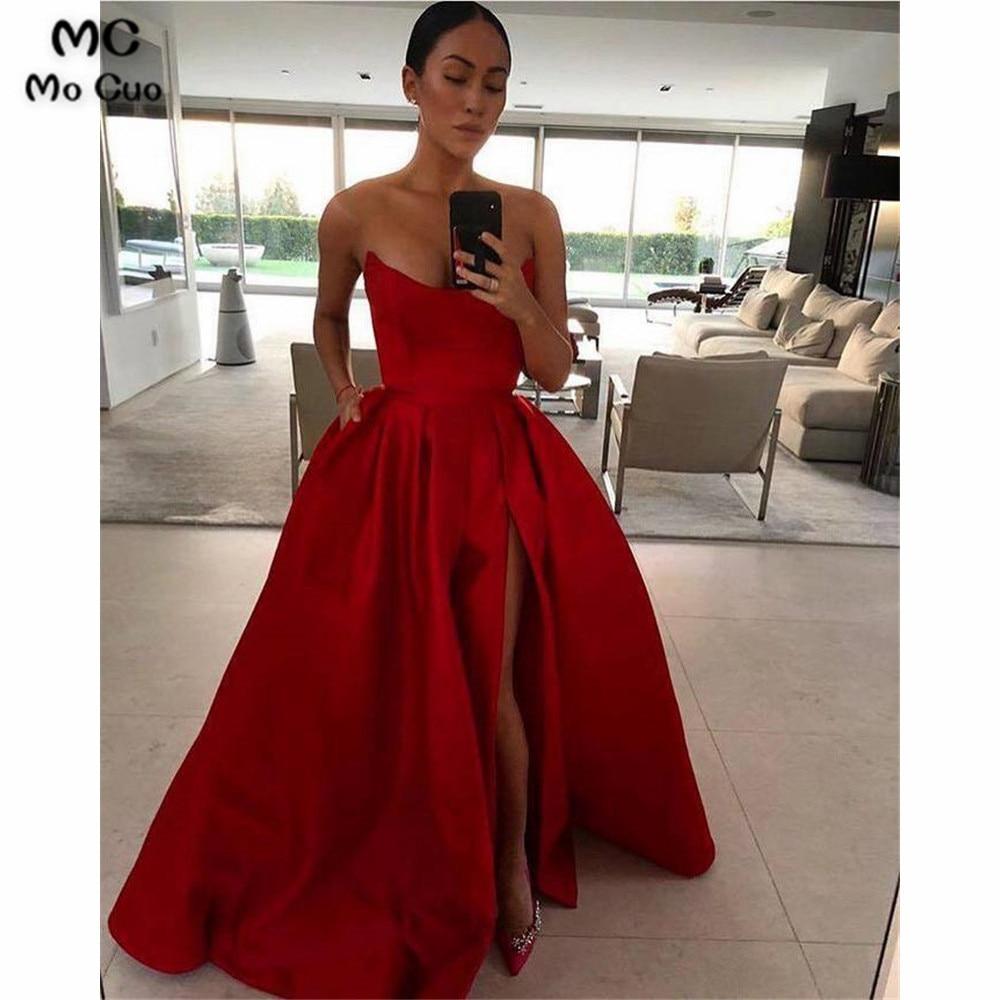 Elegant 2020 Wine Red A-Line Prom Dresses Long Scoop Front Slit Hard Satin Lace Up Back Formal Evening Party Dress
