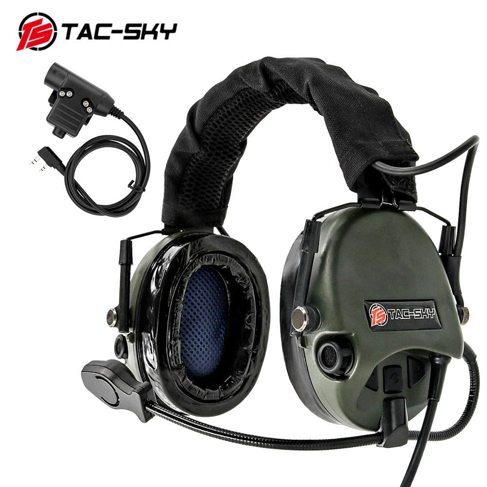 TAC-SKY Walkie-talkie PTT U94 PTT+ TEA Hi-Threat Tier 1 Silicone Earmuffs Military Hearing Defense Shooting Tact KENWOOD U94 PTT