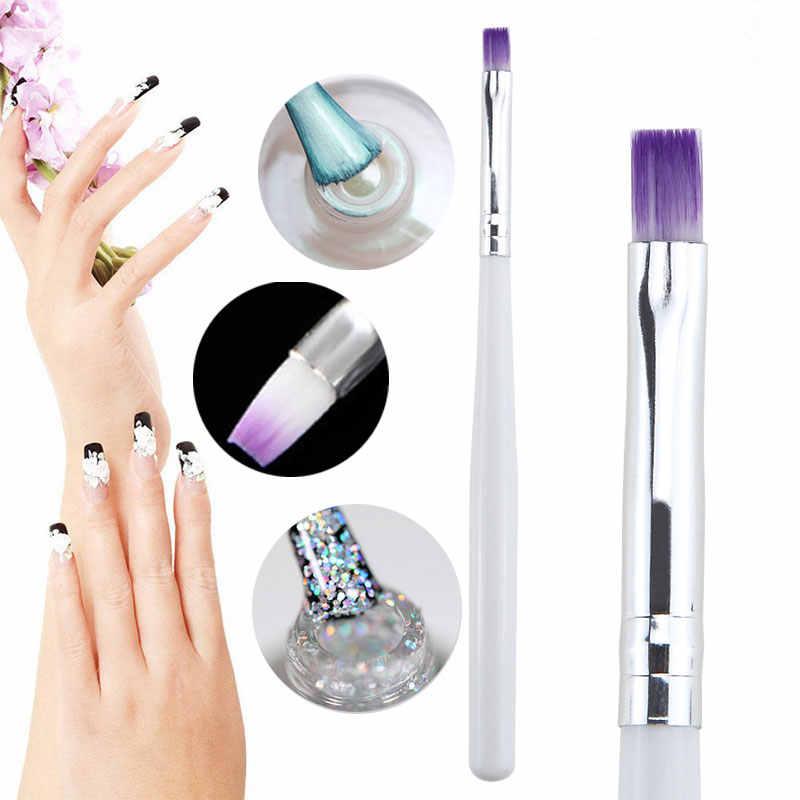 1 Uds 13cm Dibujo En Gel Uv Pincel Para Pintar Uñas Pincel Para Herramienta Diy De Manicura Gradiente De Color Púrpura Pincel Blanco