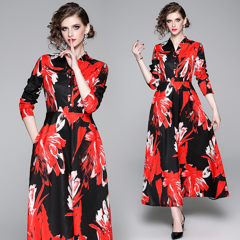 2019 Europe and the United States printing cultivate one's temperament big qiu dong the shirt dress