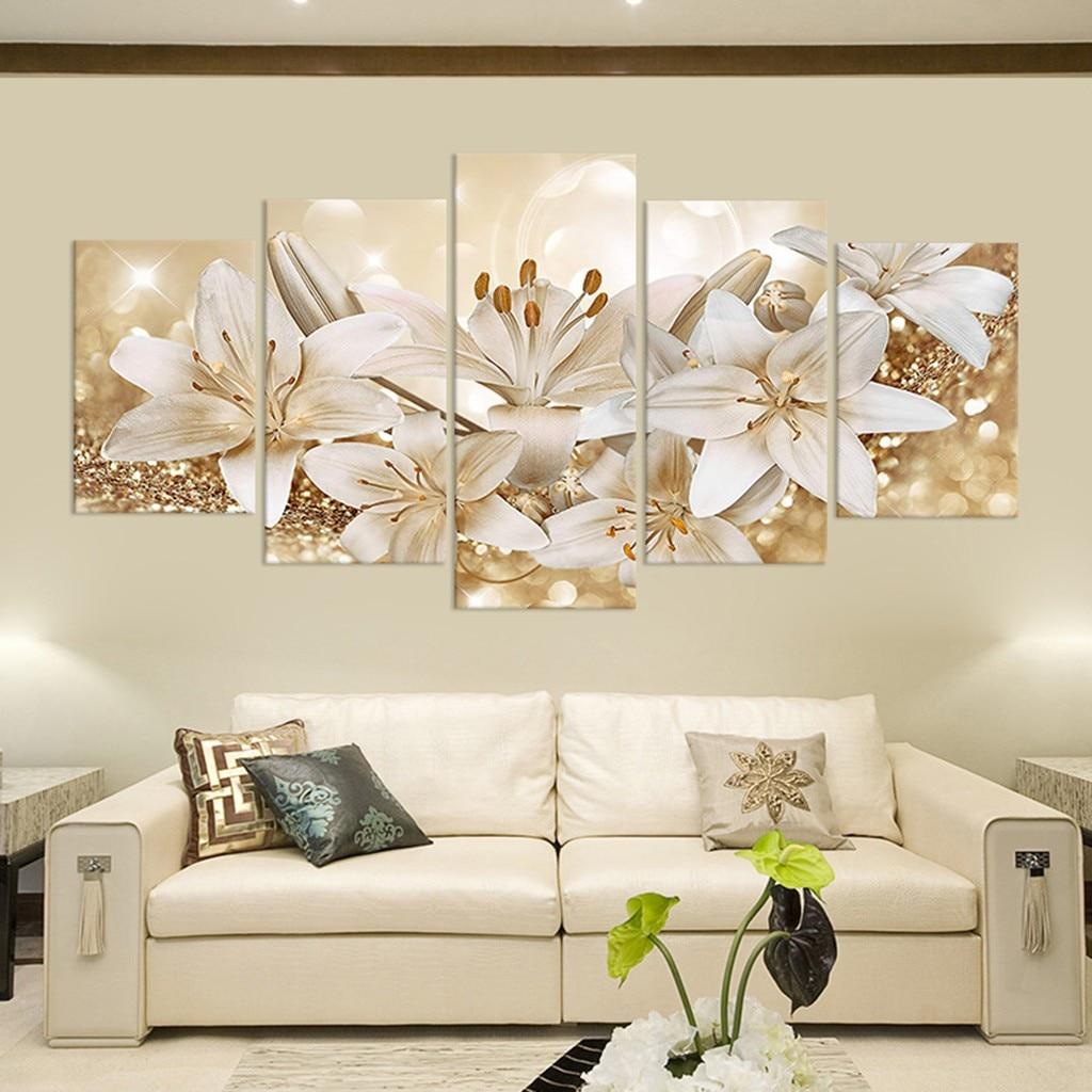 Модная настенная Картина на холсте, 5 шт., модное красивое украшение для гостиной с цветами, художественные принты, настенные картины, домашн...