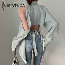 Genayooa Korean Blouse Women Long Sleeve Hollow Out Womens Tops And Blouses Streetwear Office
