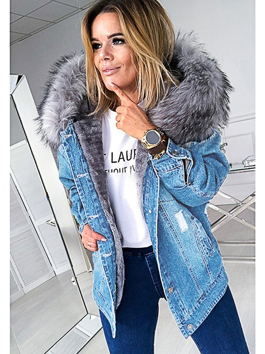 Women's Denim Jacket Warm Faux Fur Oversized Outerwear Hooded Female Clothing for Autumn Winter Button Down Long Sleeve Coat