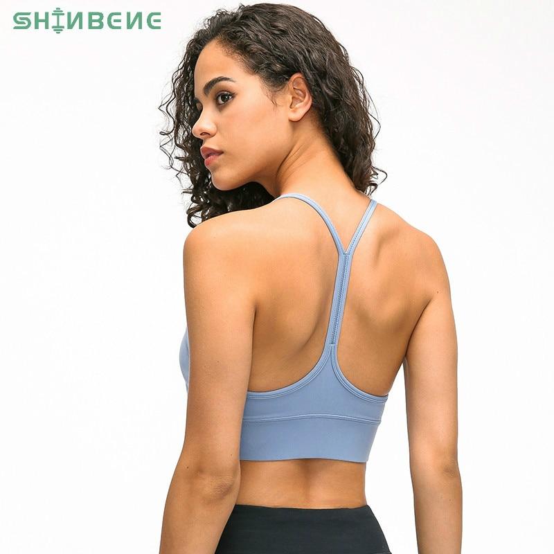 SHINBENE Y-Type Lengthen Verison Padded Running Gym Workout Bras Women Naked-feel Fabric Plain Sport Yoga Bras Fitness Crop Tops