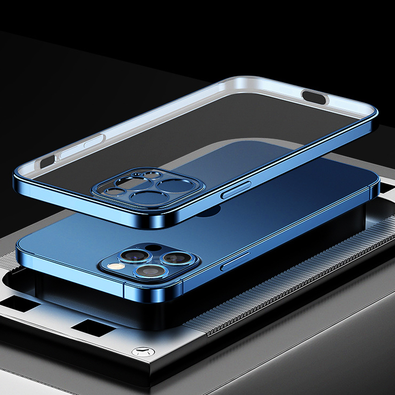 Luxury Square Plating Frame Transparent Case For iPhone 13 11 12 Pro Max  Mini X XR XS SE 2020 7 8 Plus Silicone Shockpoof Cover|Phone Case & Covers|  - AliExpress