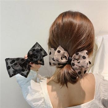 Haimeikang Women Ponytail Holder Hair Rubber Scrunchies Korean Spring Summer Rope Elastic Bow Wave Point Headwear - discount item  20% OFF Headwear