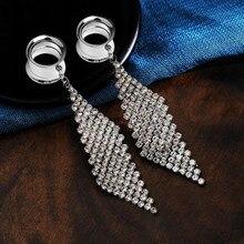 2 pçs de cristal balançar túneis e plugues brincos orelha calibre macas borla orelha túnel piercing expansores oreja corpo jóias nez
