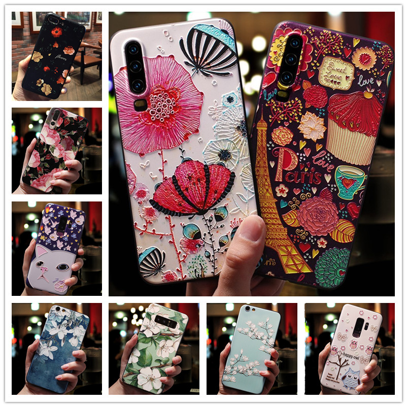 For <font><b>OPPO</b></font> A3S <font><b>Case</b></font> 3D Flower Silicone Emboss Phone Cover For <font><b>OPPO</b></font> a5 Reno 10X Zoom F11 Pro F7 <font><b>F9</b></font> A1K AX7 Realme 3 Pro A39 A57 A59 image