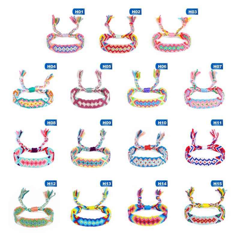 Multicolor diamante arcoíris pulsera Nepalesische borla hecha a mano brazaletes tejidos mujeres hombres Lucky brazaletes de la Amistad joyería