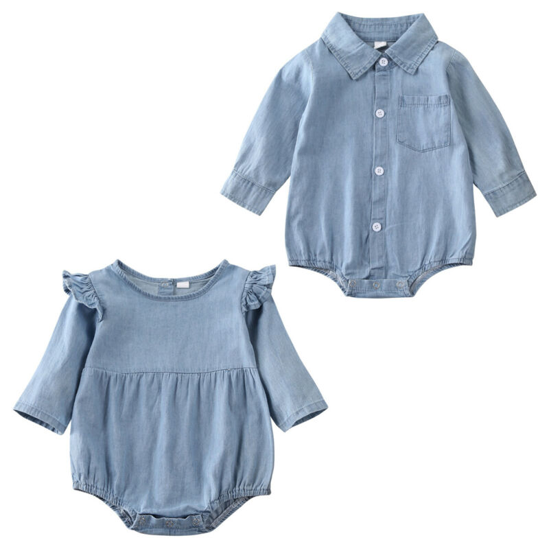2020 Bodysuit For Newborns Twins Baby Boy Girl Long Sleeve Blue Denim Shirts Ruffle Bodysuit Jumpsuit Sisters Brothers Clothes
